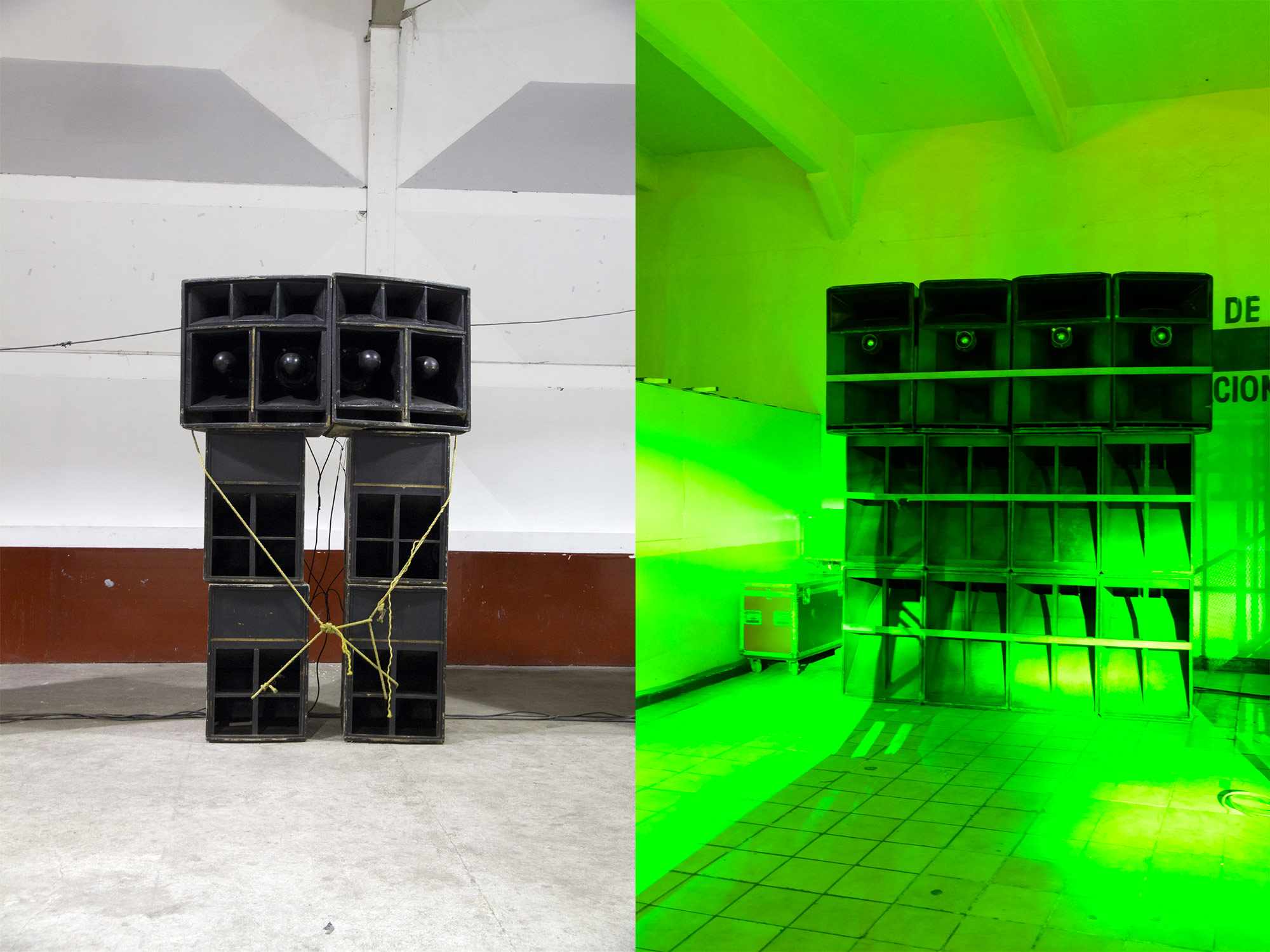 Soundsystem of Sonido Siboney at a dance in Tlalnepantla, Mexico, 2011 + Soundsystem of Sonido Samurai at a dance at the Olímpico, Pantitlán neighbourhood, Mexico City, 2018. Ph: Mirjam Wirz
