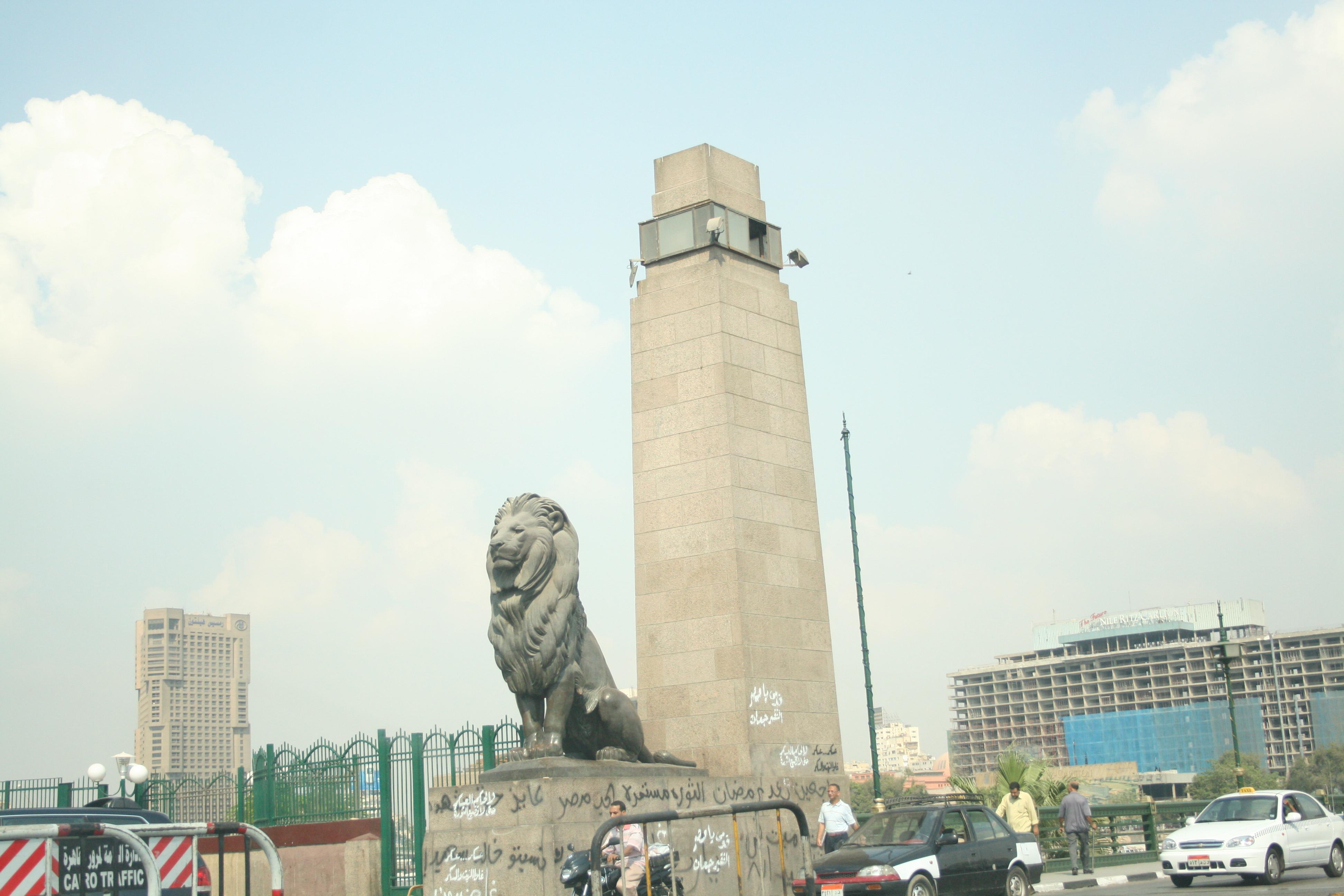 Lion at the Qasr al-Nil Bridge, Tahrir Square, Cairo, Egypt