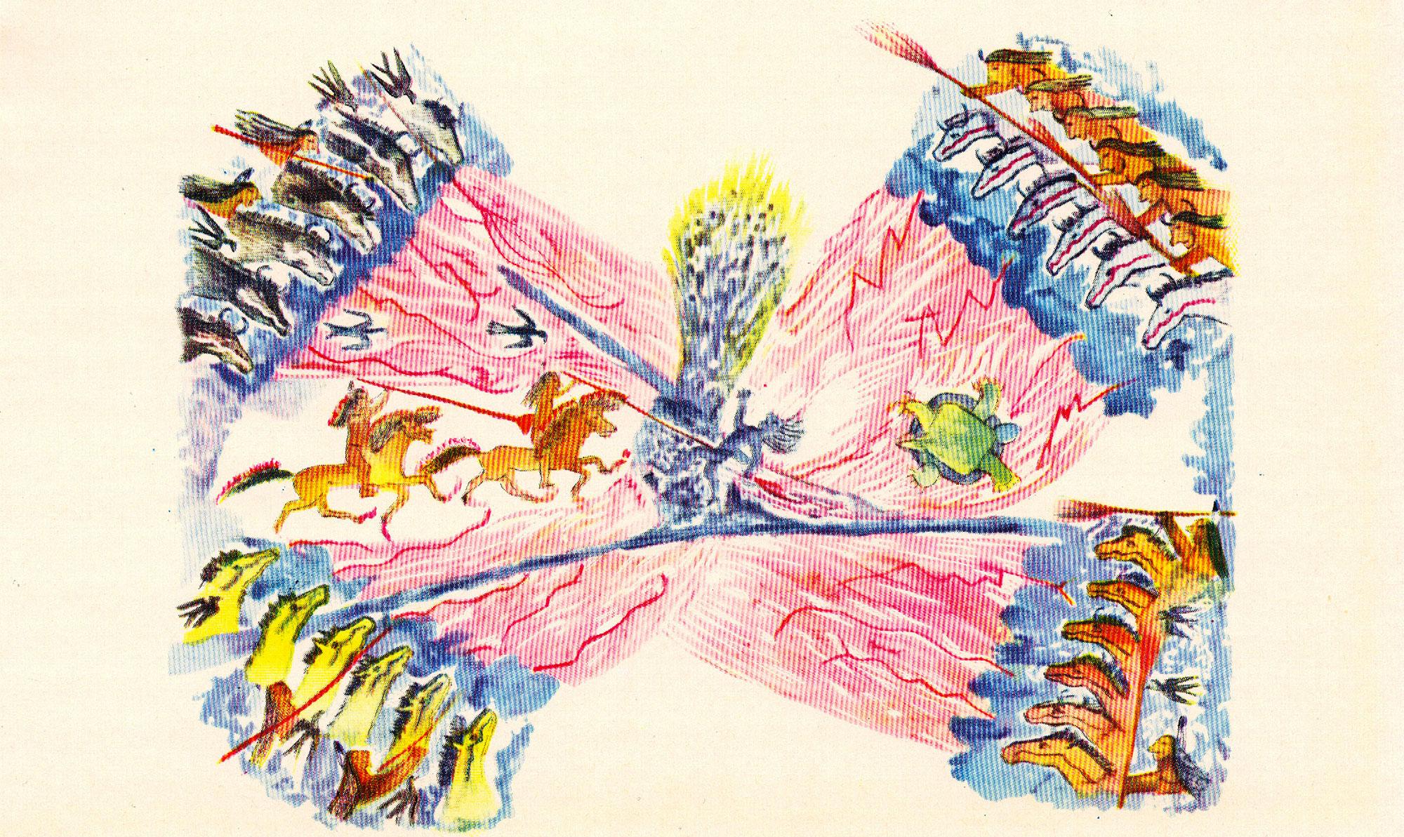 Orso in Piedi (Sioux), La visione di Alce Nera, acquerello, 1956